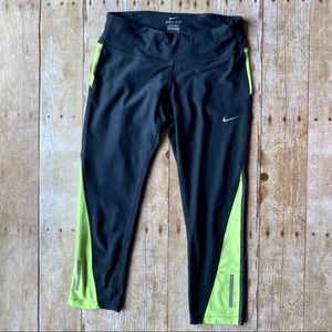 4/$20 Nike Dri-Fit black lime green capri legging